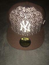 New Era New York Yankees Baseball Cap Brown & White Fitted Hat 7-3/4 (61.5cm)