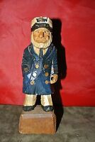 Vintage Hand Painted and Carved Wooden Old Captain Figurine  6-1/4'
