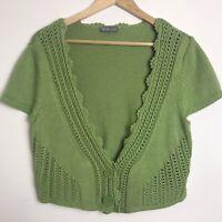 Per Una Size 18 Pea Green Cotton Blend Cropped Cardigan