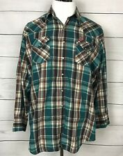 Ely Plains Western Shirt Men's Long Sleeve Pearl Snap Button size 18, 34/35,