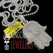 Mens Ladies Genuine Diamond Jewish Hamsa Hand Pendant White Gold Finsh 0.66 Ctw