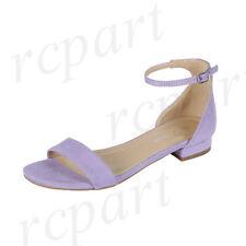 New women's shoes open toe buckle closure low heel suede like wedding Lavender