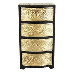 Home Decor Box Traditional Wooden & Brass  4 Drawer Chest Size 6x3x8 Inch RP-24a