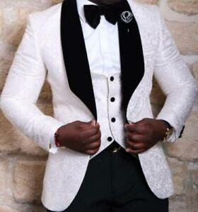 Mens Wedding dress Tuxedo Slim Fit  Prom Party White Floral Formal Suits Chic