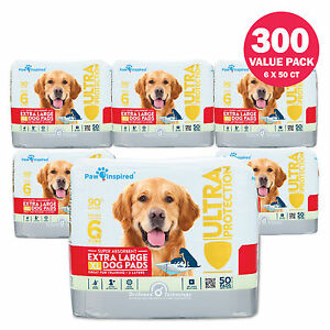 50/300ct Paw Inspired Extra Large Dog Wee Wee Puppy Training Pads, XL Pads Bulk