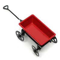 Red Miniature Metal Pulling Cart Dollhouse Ornament Home Decor Garden Furniture*