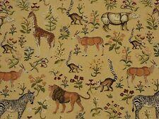Hamilton Tapestry Novelty Africana Beige Lions Zebras Gazelles Lemurs Safari