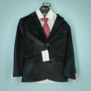 Isaac Mizrahi Size 5 Suit Jacket Set Velvet Slim Shirt Tie Black Party Event NWT