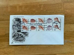 USA US 1985 FDC ART CRAFT BOOKLET PANE COIL STAMPS 22 CENT SEASHELLS