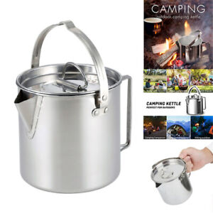 1.2L Camping Kettle Stainless Steel Cooking Kettle Outdoor Camping Pot Teakettle