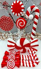 Candy Cane Bumper Set Christmas Tree Decoration Red/White Glitter Candy Sweets