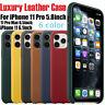 Waldgrün Für Apple iPhone 11 Pro Max Echt Leder Hülle Leather Case Schutzhülle