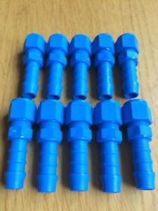 """10 x TEFEN 10mm (3/8) Male Straight Barbed Hose Tail Pipe Connectors 1/4"""" BSPT"""
