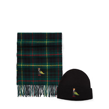 Ralph Lauren Polo Christmas Tree Bear Hat & Plaid Scarf Gift Set w/Box New