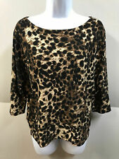 THEME Womens size XS/S Animal Print Wide Neck 3/4 Sleeve Stretchy Top