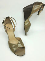 Tahari shoes 11 M Gianna wedge heels taupe and brown patent leather open toe