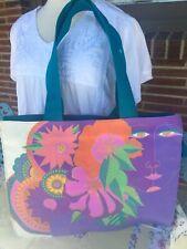 Laurel Burch Vintage Woman's Spirit Beige Purple Oversize Carry Tote HandBag