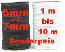 Gummiband 5 u.7mm, Gummilitze, Hosengummi, Masken  schwarz und weiß Top Preis