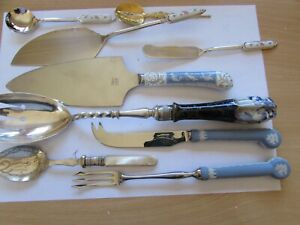 lot vintage cutlery cheese butter knives fish fork jam salad spoons cake server
