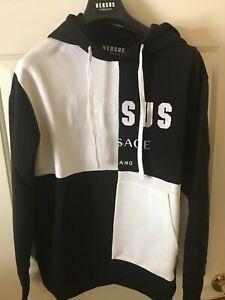 New Versus Versace Men's Logo Hoodie Hooded Sweatshirt Black White Block Size XL