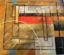 Signed Original Art  Abstract Painting On Canvas by L. Halls