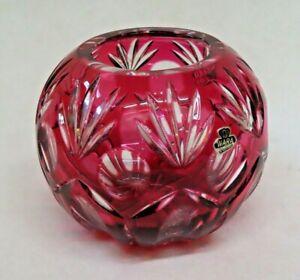 """Vintage WARA West German Ruby Flash Color Cut Lead Crystal Glass 5"""" Globe Bowl"""