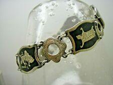 Victorian Silver Niello Goddess Panel Bracelet