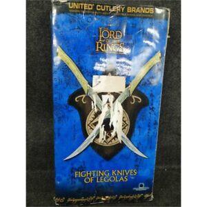 United Cutlery UC1372 LOTR Fighting Knives of Legolas Replica w/Plaque Worn Box*