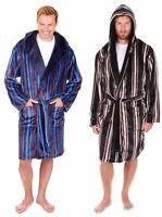Mens Sleepy Joes Soft Coral Fleece Striped Hooded Dressing Gown Robe M-5XL