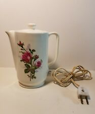 VINTAGE JAPAN CERAMIC HOT POT COFFEE  WITH CORD FLORAL ROSES MOTIF WORKS
