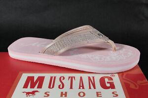 Mustang Mädchen Zehenstegpantoletten Zehentrenner Pantoletten rosa Neu