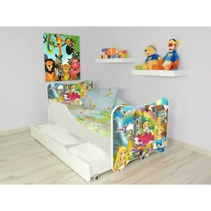 Children Bed, Toddler Junior Bed For Kids + mattress 140x70cm + drawer + Pillow