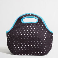 NEW J Crew Lunch Tote Bag Carrier Black w White Teal Trim Polka Dots Zip NWT