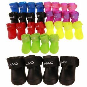 Pet Puppy Dog Waterproof Shoes Small Anti-Slip 4PCS Protective Rain Boots Socks