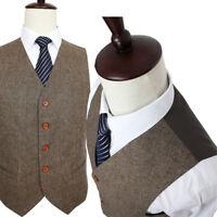Brown Blend Tweed Herringbone Men's Formal Business Waistcoat Wedding Man Vests+