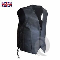 Mens Motorcycle Waistcoat Biker black Vest jacket with side laces sizes from 3xs