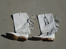 Fringe White Cowboy Boots Made in Italy Size 8, 39 Euro