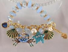 Betsey Johnson Crab Beaded Beach Scuba Shell Sea Star Beads Bracelet
