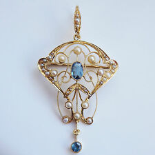 Finest Antique Victorian 15ct Gold Aquamarine & Pearl set Pendant Brooch c1895