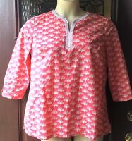 Talbots PETITE M Pink White Blouse Tunic Top Womens 100% Cotton Shirt Dandelion