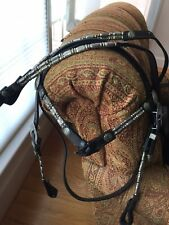 Silver Ferrule Brow Show Headstall - Bridle and Reins - Dark Brown/Black Leather
