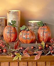 Set Of 3 Inspirational Pumpkins Table Top Home Accent Decor Haunted House  Prop A