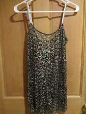 EUC✿ Free People SLIP DRESS M SHEER Silver Black Sequins Tunic Top Clubwear
