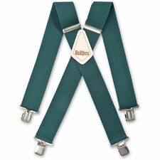 MENS ELASTICATED TROUSER BRACES DARK GREEN HEAVY DUTY METAL CLIP WIDE SHOULDERS