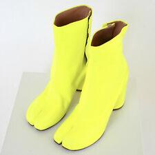 MAISON MARTIN MARGIELA split toe neon yellow wrinkled leather tabi boots 37 NEW