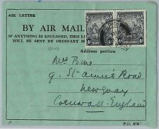 BARBADOS -  POSTAL HISTORY - AEROGRAMME Air Letter to ENGLAND 1946