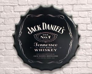 40cm Bourbon Jack Whisky Beer Vintage Retro Wall Display Sign Metal Bottle Top
