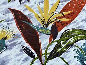 Shan Lee Yucatan Tropical 40s Barkcloth Era Fabric Drape Curtain Drapery 2 Avail