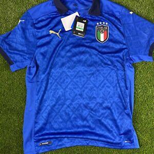 Puma FIGC Italia Home Euro 2021 (Men's Size L) Athletic Soccer Jersey Blue
