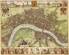 17th Century Map of London W Hollar, Reprint 10x8 inch